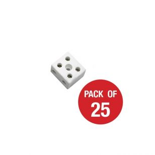 CED 2 Way Porcelain Connector Block - 5A - Pack of 25