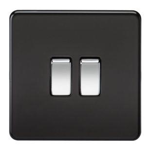 Matt Black Screwless 10A 2 Gang 2 Way Light Switch with Chrome Rocker