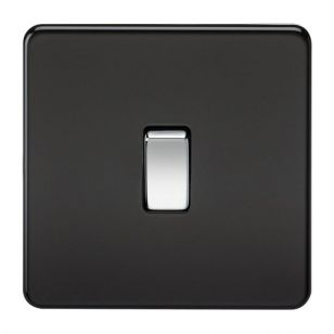 Matt Black Screwless 10A 1 Gang Intermediate Light Switch with Chrome Rocker