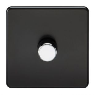 Matt Black Screwless 1 Gang 2 Way Trailing Edge Dimmer with Chrome Knob