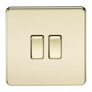 Polished Brass Screwless 10A 2 Gang 2 Way Light Switch