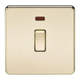 Polished Brass Screwless 20A 1 Gang DP Switch with Neon