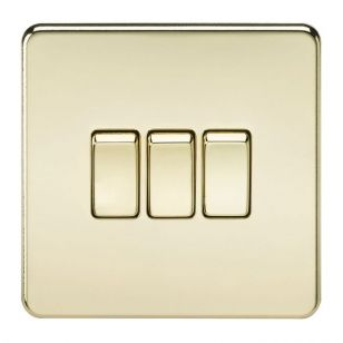 Polished Brass Screwless 10A 3 Gang 2 Way Light Switch