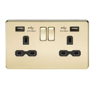Polished Brass Screwless 13A 2 Gang Switched Socket with Dual 2.4A USB Charging