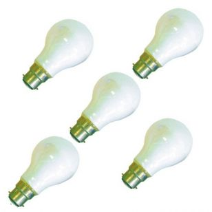 25W White Coloured GLS Bulbs - Bayonet Cap - Pack of 10