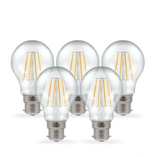 Crompton 5W Warm White Dimmable LED Decorative Filament GLS Bulb - Bayonet Cap - Pack of 5