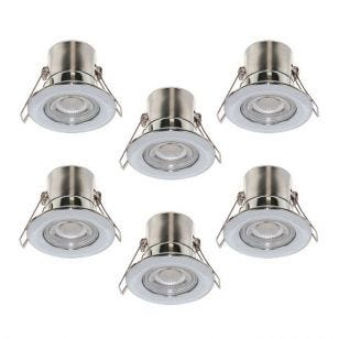 Luceco F-Eco 5W Cool White Dimmable LED Fire Rated Fixed Downlight - Polished Chrome - Pack of 6
