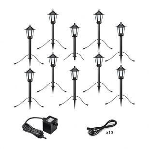 Garden 24V Coach Lantern LED Outdoor Post Light - 10 Lights