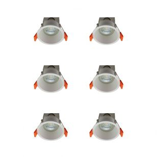 Edit Deep Recessed Fixed Downlight - White - Pack of 6