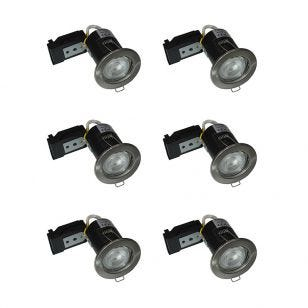 Evolve Fixed Fire Rated Downlight - Satin Nickel - Pack of 6