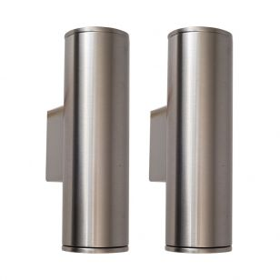 Edit Pimlico LED Outdoor Up & Down Wall Light - Stainless Steel - Pack of 2