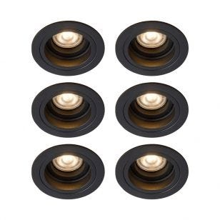 Lucide Embed Deep Recessed Round Adjustable Downlight - Black - Pack of 6