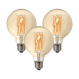 Tagra 6W Very Warm White Dimmable LED Decorative Filament 95mm Globe Bulb - Screw Cap - Pack of 3