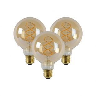 5W Very Warm White Dimmable LED Decorative Filament 95mm Globe Bulb - Screw Cap - Pack of 3