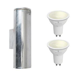 Edit Coastal Pimlico 5.5W Warm White LED Smart WiFi Outdoor Up & Down Wall Light - Galvanised Steel