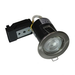 Evolve 5W Warm White Dimmable LED Fire Rated Fixed Downlight  - Satin Nickel