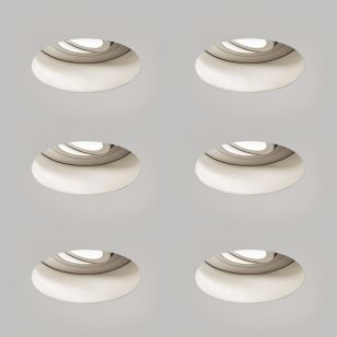 Astro Trimless Round Fire Rated Adjustable Downlight - Matt White - Pack of 6