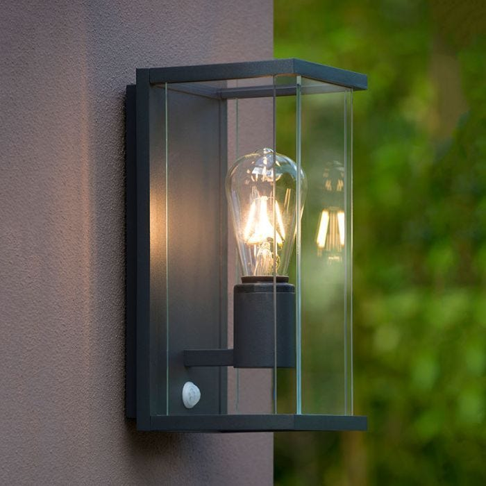 Lucide Claire Half Lantern Outdoor Wall Light With Pir Sensor Anthracite Lyco