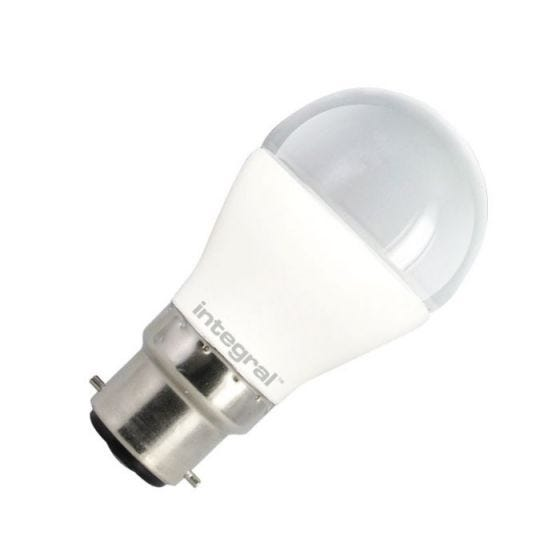 Integral 6W Warm White LED Opal Golf Ball Bulb - Bayonet Cap