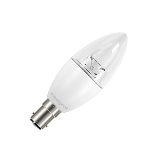 Integral 5.9W Warm White LED Clear Candle Bulb - Small Bayonet Cap