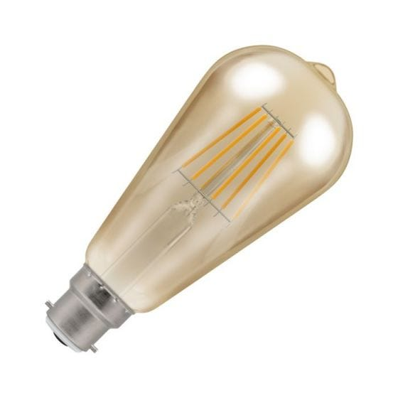 Crompton 7.5W Very Warm White Dimmable LED Decorative Filament Squirrel Cage Bulb - Bayonet Cap