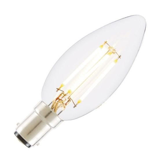 Tagra 4W Very Warm White Dimmable LED Decorative Filament Candle Bulb - Small Bayonet Cap
