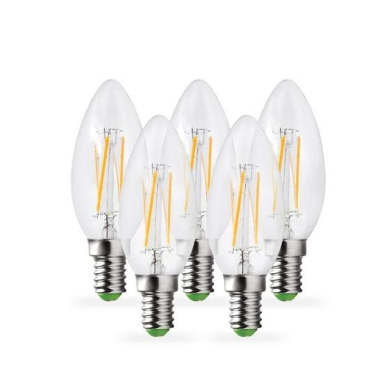 Lyco 4W Warm White Dimmable LED Decorative Filament Candle Bulb - Small Screw Cap - Pack of 5