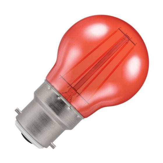 Crompton Harlequin 4W Red LED Decorative Filament Golf Ball Bulb - Bayonet Cap
