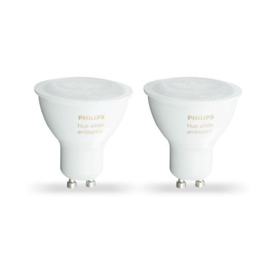 Philips Hue 5W White Changing LED WiFi GU10 Bulb - Pack of 2