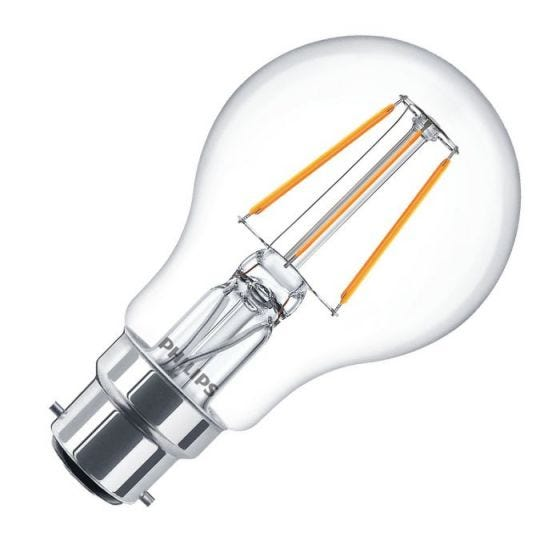Philips Classic 4W Warm White LED Decorative Filament GLS Bulb - Bayonet Cap