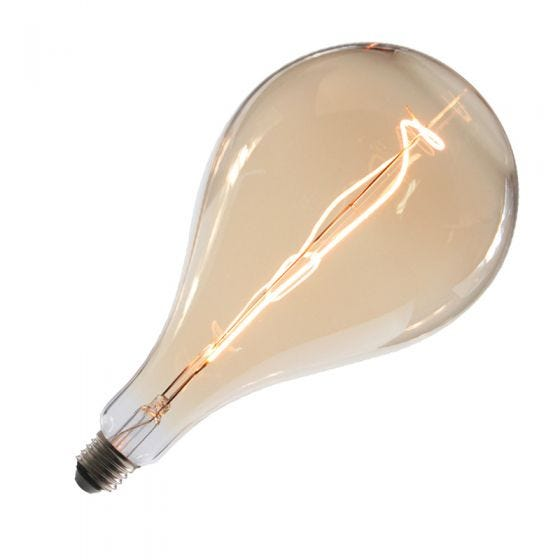 Tagra LED Large Amber Pear Globe Ceiling Pendant Light - Gun Metal