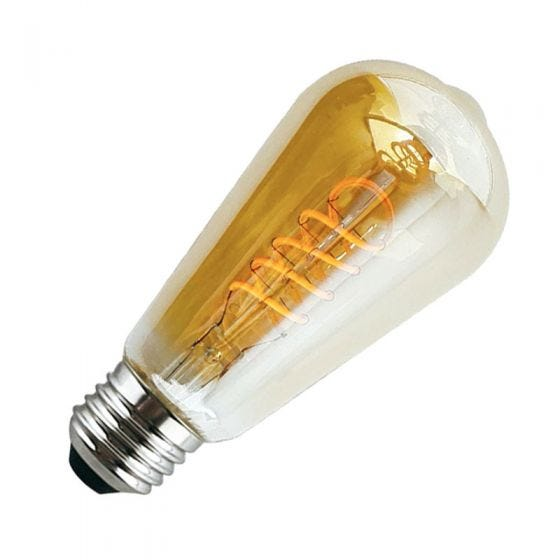 4W Very Warm White LED Decorative Filament Squirrel Cage Bulb with Dusk to Dawn Sensor - Screw Cap
