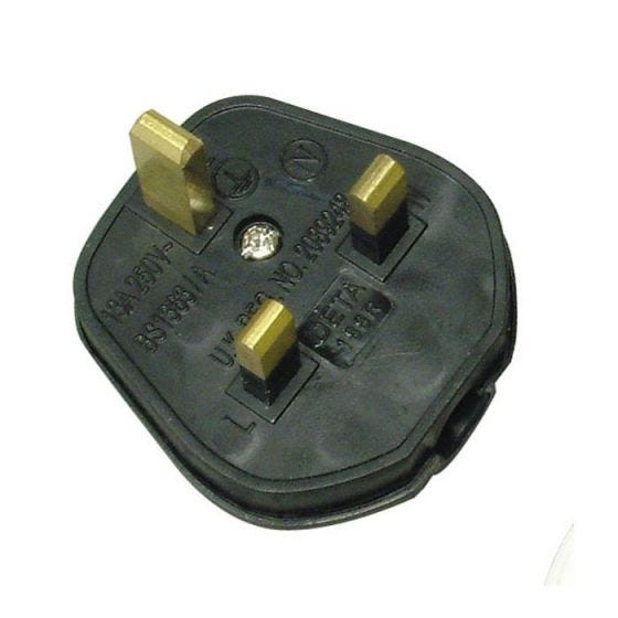 Black Rubber 13A Plug