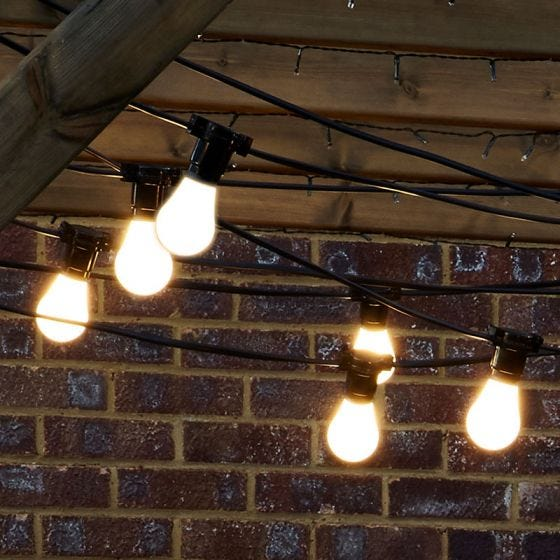 10M Weatherproof Festoon Lighting - 10 Black Bulb Holders