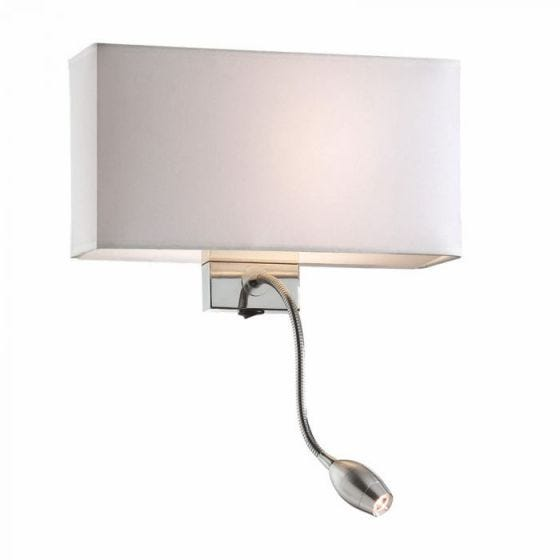 Hotel Wall Light with LED Reading Light - White