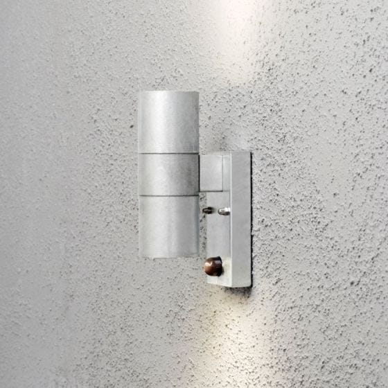 Konstsmide Modena Outdoor Up & Down Wall Light with PIR Sensor - Galvanised Steel