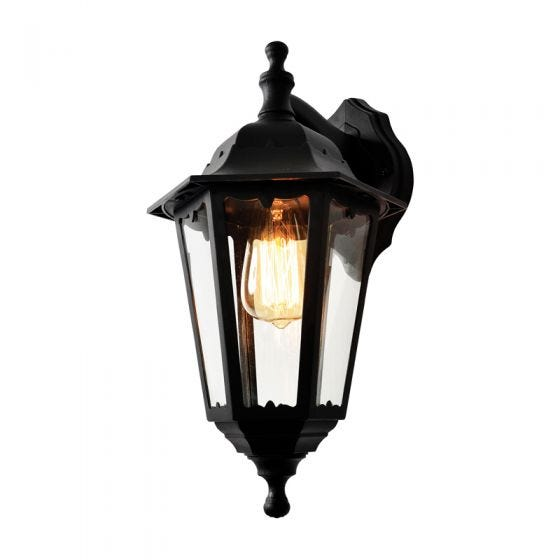 Forum Coastal Bianca Outdoor Lantern Wall Light - Black