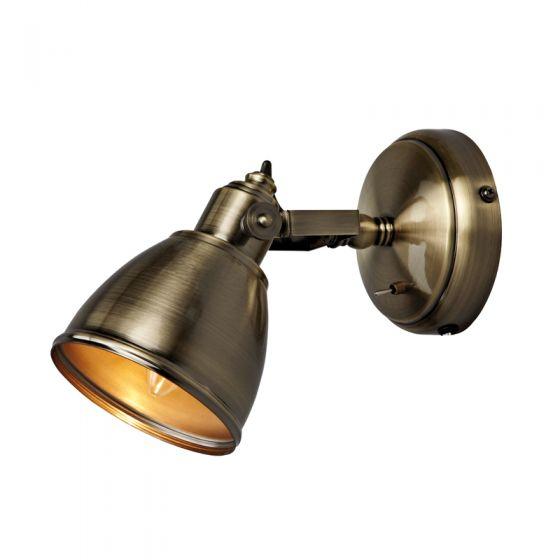 Backa Single Spotlight with Plug - Antique Brass
