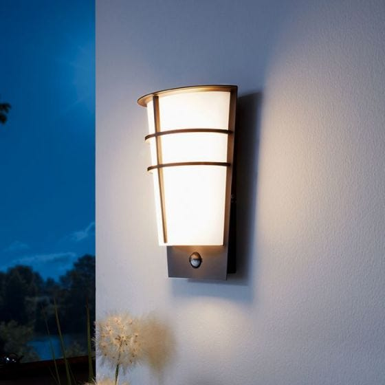 Eglo Breganzo LED Outdoor Wall Light with PIR Sensor - Anthracite