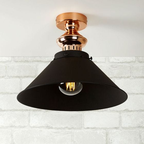 Edit Revo Semi-Flush Ceiling Light - Black and Copper