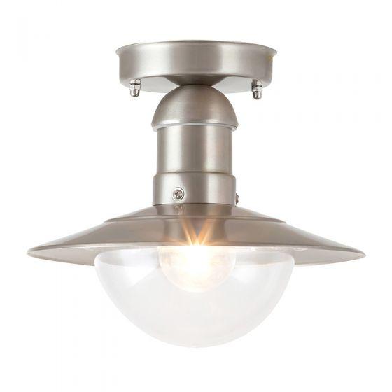 Edit Oslo Outdoor Semi-Flush Ceiling Light - Stainless Steel