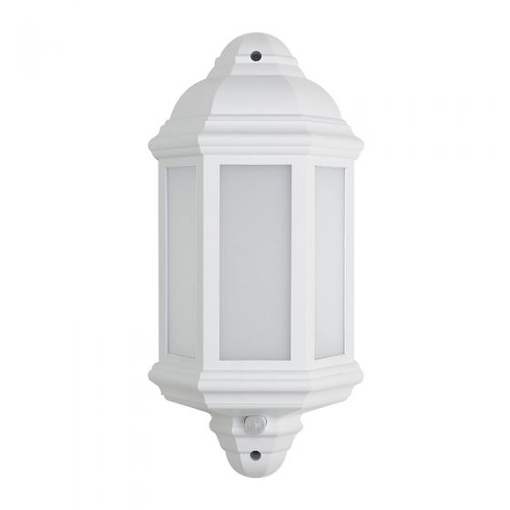 LED Half Lantern Outdoor Wall Light with PIR Sensor - White
