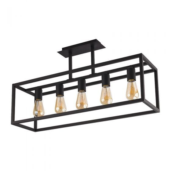Edit Crate 5 Light Semi-Flush Bar Ceiling Pendant – Black