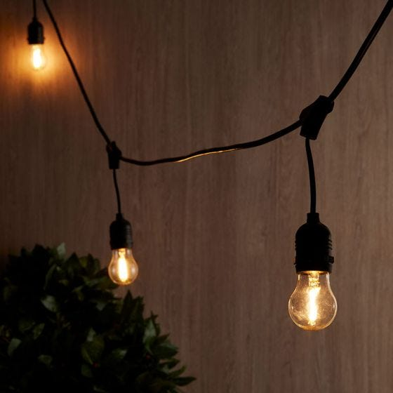 14M Connectable Hanging Festoon Lights - 15 Black Bulb Holders