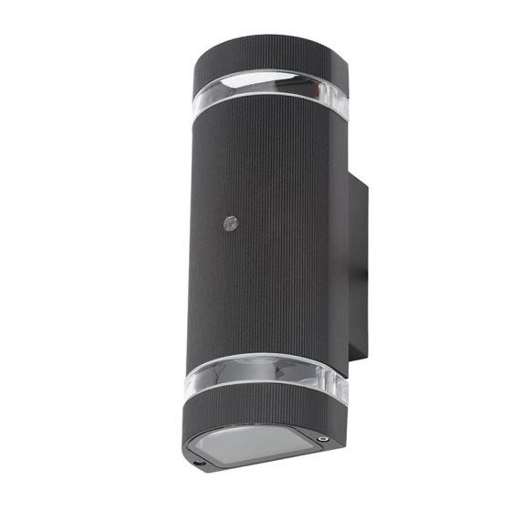Forum Helios Outdoor Up & Down Wall Light with Dusk to Dawn Sensor - Black