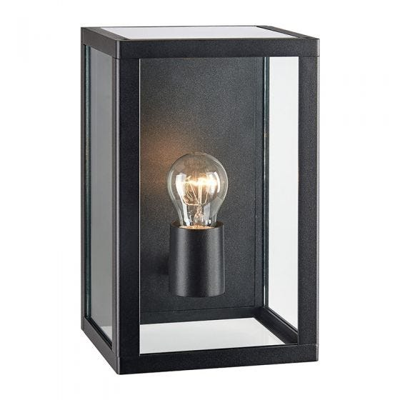 Pelham Half Lantern Outdoor Wall Light - Black
