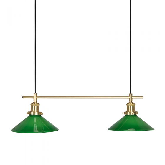 Edit August Glass 2 Light Bar Ceiling Pendant - Green