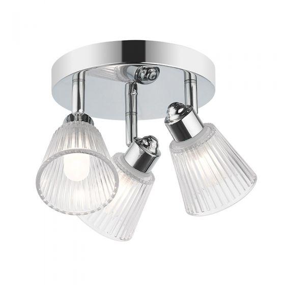 Edit Rain Bathroom 3 Light Spotlight Plate - Chrome