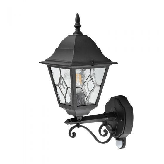 Edit Mottled Outdoor Lantern Wall Light with PIR Sensor - Black