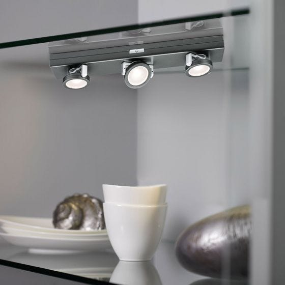 Rotate 3 Light LED Battery Operated Under Cabinet Light - Anthracite